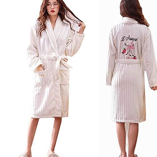 9708d9126c6328 Sweetheart -LMM Flamingo Fleece-Bademantel Kigurumi Pyjama voller Länge  luxuriöser Stickerei.