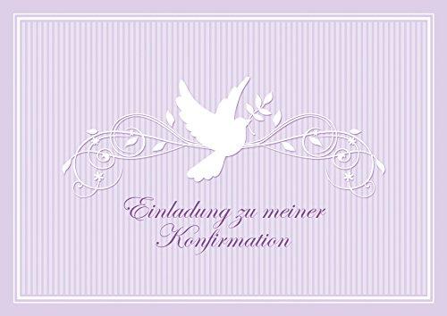 """Konfirmationskarte """"Einladung zu meiner Konfirmation"""" schöne Einladungskarte zur Konfirmation Klappgrußkarte für ein Mädchen/ Junge in Lila/ Flieder mit einem Ornament und Taube (Mit Umschlag) (8)"""