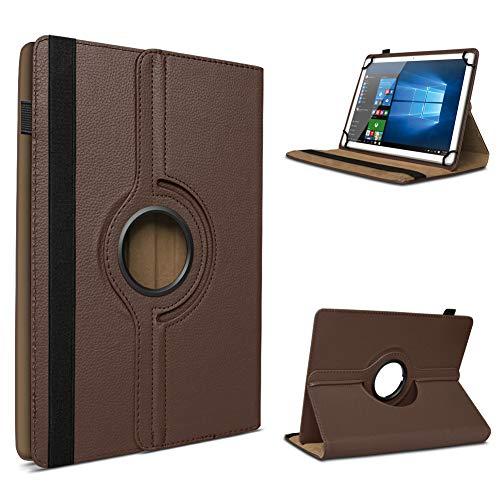 UC-Express Tablet Schutzhülle für 10-10.1 Zoll Tasche aus hochwertigem Kunstleder Standfunktion 360° Drehbar Universal Case Cover, Farben:Braun, Tablet Modell für:Blaupunkt Endeavour 1001