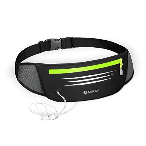 NineUp Sport Hüfttasche, Laufgürtel,Bauchtasche Wasserdichte Gürteltasche mit Kopfhöreranschluss Lauftasche mit reflektierenden Streifen für alle Arten von Handys