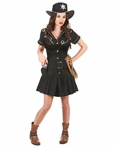 KULTFAKTOR GmbH Sexy Cowgirl Western Damenkostüm schwarz-Silber - Sexy Western Cowgirl Kostüm