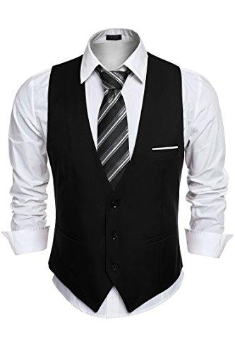 Burlady Anzugweste Herren V-Ausschnitt Ärmellose Westen Slim Fit Smoking Sakko Herrenweste Herrenanzug Anzug Business Hochzeit (Schwarz Anzug 3 Knopf)