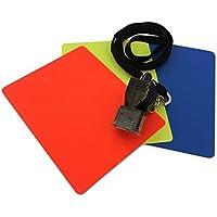 Schiedsrichter Set Fußball mit Pfeife und Disziplinarkarten Rot und gelb, 3-teilig