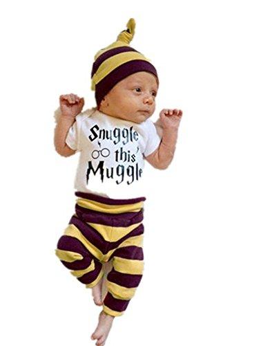 Preisvergleich Produktbild Bekleidung Baby,LMMVP Baby Tops Spielanzug Hosen Gamaschen Hut Gestreifte Gesetzte Kleidung (70, White)