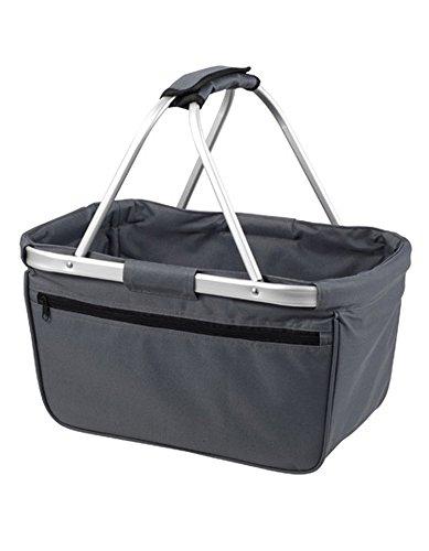HALFAR® HF3939 Shopper Basket Einkaufskorb Korb mit Aluminiumgestäng faltbar , Farbe:Anthrazit