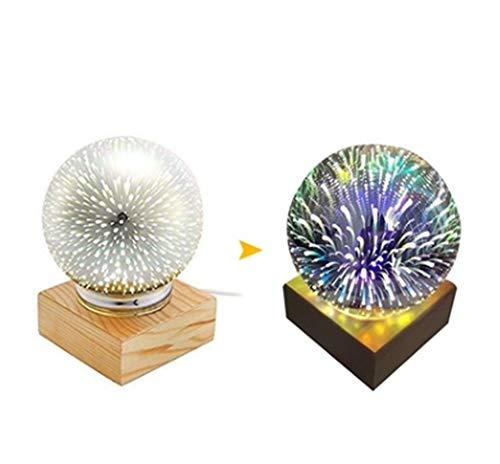 USB wiederaufladbare farbenfrohe Sphäre Lampe Globe 3D Magic Night Light Crystal Ball Geschenk,Fireworks (Light Globe Crystal)