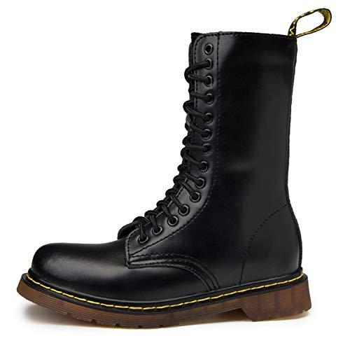 tqgold Donna Pelle Moda Hautes Stivali Inverno Classici Stivaletti Uomo Impermeabile Stringate Boot(Nero,40 EU)