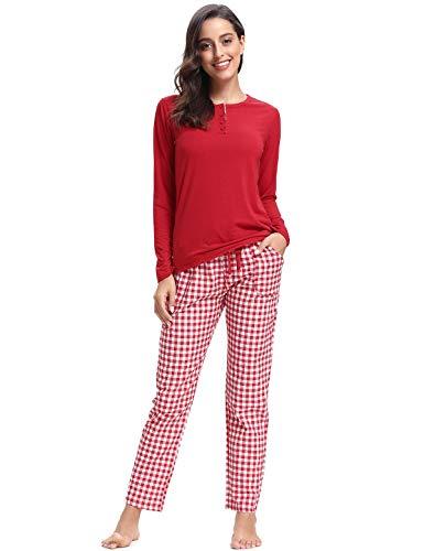 Abollria Pijamas Mujer Algodon Ropa Domir Elegante