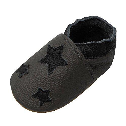 YIHAKIDS Premium Weiche Leder Krabbelschuhe Babyschuhe Kleinkind Lauflernschuhe(Grau,18-24 Monate)