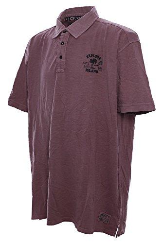 Baumwoll Polo mit Knopfleiste und kleinem Stick von Kitaro in Übergrößen, berry Berry