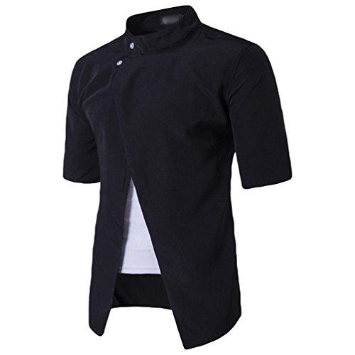 ZhiYuanAN Sommer T-Shirt Mode Persönlichkeit Für Männer Kurzarm Shirt Normallack Wild Casual Hemd Tops Schwarz