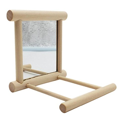 SODIAL Funny Toy loros de madera de juguete supplie loros jaula Plataforma de moda para mascotas Espejos Bird Stand