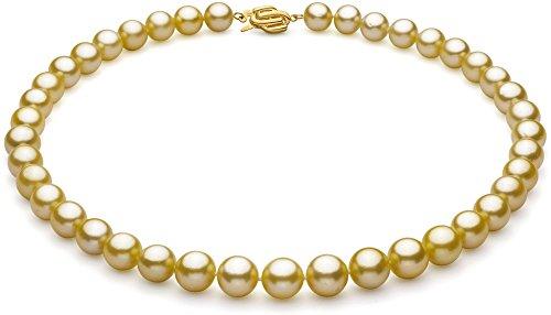 (PearlsOnly Halskette mit Goldfarbenen, 9-11.7mm großen Südseeperlen in AAA-Qualität -18 cm)