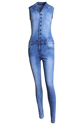 ladies-candeggiare-lavare-senza-maniche-in-denim-elasticizzato-tuta-catsuit-club-wear-taglia-m-10-12