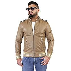 BARESKIN MenS Beige Rib Style Band Collar Leather Jacket ,size: Small ,Premium Quality