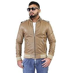 BARESKIN MenS Beige Rib Style Band Collar Leather Jacket ,size: Large ,Premium Quality