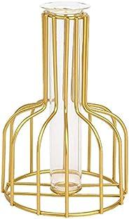 Transparent Glass Test Tube Vase with Metal Bracket, Hydroponic Test Tube Vase,Gold Color Geometric Metal Vase
