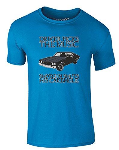 Brand88 - Driver Picks the Music, Erwachsene Gedrucktes T-Shirt Azurblau