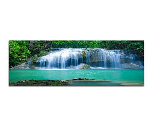 Panoramabild auf Leinwand und Keilrahmen 150x50cm Thailand Nationalpark Erawan Wasserfall Natur