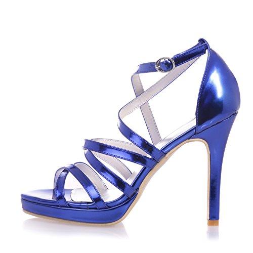 Chalmart Sandales à Haut Talon Escarpins à bride Aiguilles élégant Nouveau Style Bleu
