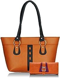 Fristo Women Handbag And Wallet Combo(FRWC-051)Tan And Black