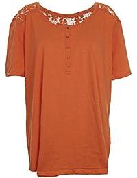 Sheego  modisches  T Shirt  Gr 40 42 44 46  orange weiß  Paisley  Baumwolle  neu