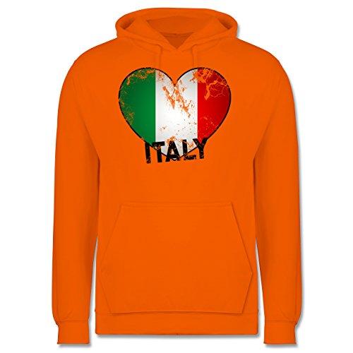 EM 2016 - Frankreich - Italien Herz Vintage - Männer Premium Kapuzenpullover / Hoodie Orange