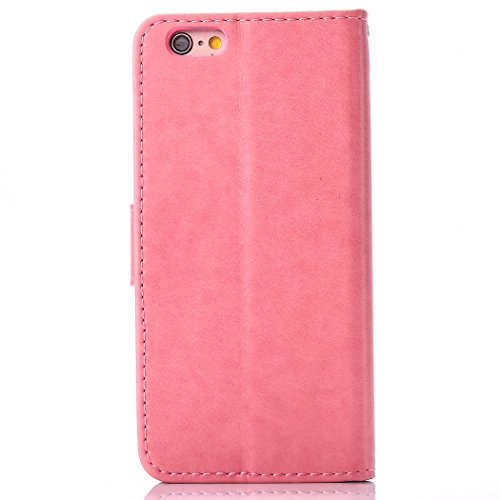 Custodia iPhone 6 - Cover iPhone 6S - ISAKEN Accessories Cover in PU Pelle Portafoglio Tinta Unita Custodia, Elegante Embossed Rose Pattern Design in Sintetica Ecopelle Libro Bookstyle Wallet Flip Por Dreamcatcher: rosa