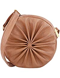 FELICITA Round Circular Women's Designer Branded Small Sling Bag (Brown)
