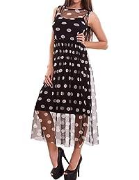 Toocool - Vestito donna abito lungo doppio pois velato microrete morbido  nuovo CR-2183 1a6ef2908e2