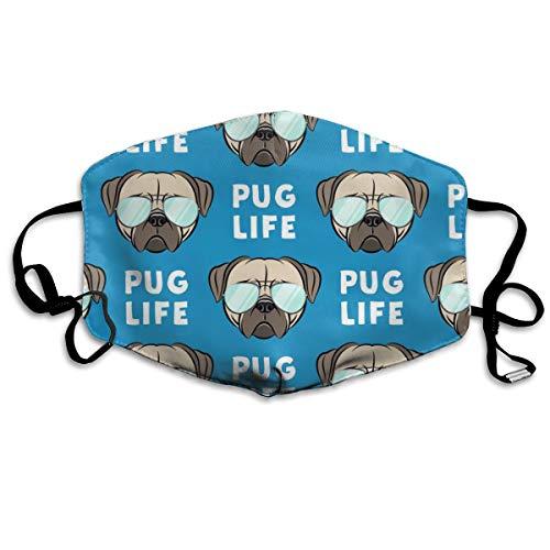 Mops Life - süßes Mops-Gesicht mit Brille, Anti-Staub-Maske gegen Verschmutzungen, waschbar, wiederverwendbare Mundmasken