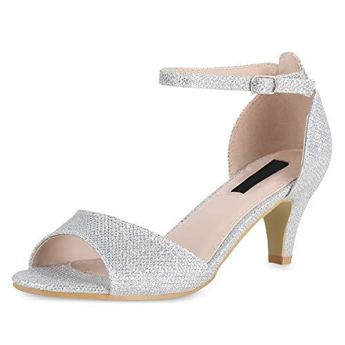 SCARPE VITA Damen Sandaletten Riemchensandaletten Party Schuhe Stiletto Absatzschuhe Elegante Glitzer Abendschuhe 180449 Silber Glitzer 36