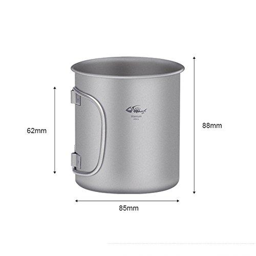 Leezo 1pc leichte Reine Titan Wasser Becher tragbare Faltbare Metall Reise Becher Wasser Trinkbecher für Outdoor Wandern Wandern - 450ml Titan Insulated Mug