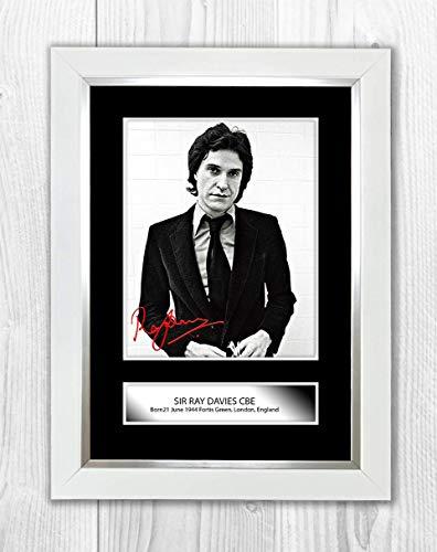 Engravia Digital Ray Davies (2) The Kinks, Reproduktion, Signatur-Poster, Foto, A4 Weißer Rahmen (Signatur-foto-rahmen)