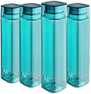 Cello H2O Squaremate Plastic Water Bottle, 1-Liter, Set of 4, Aqua Blue