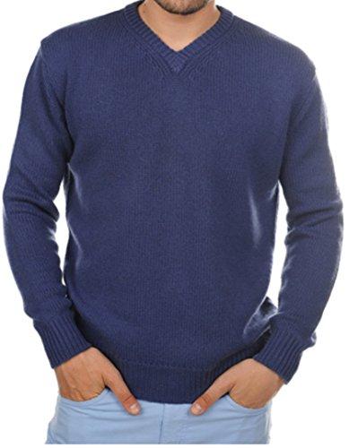 Preisvergleich Produktbild Balldiri 100% Cashmere Kaschmir Herren Pullover V Ausschnitt 8-fädig kobaltblau L