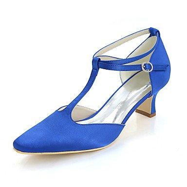 Wuyulunbi @ Chaussures Femme Satin Printemps Été Pompe Base Serrure De Mariage Carré Orteils Talon Chaussures Pour La Fête De Mariage Et Le Soir Un Champagne Bleu Rouge Bleu