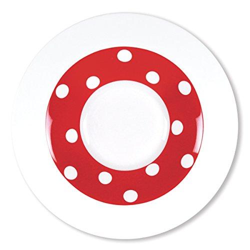 Bruno Evrard Assiette Creuse à Pois Rouge en Porcelaine 24cm - Lot de 6 - Freshness Dots