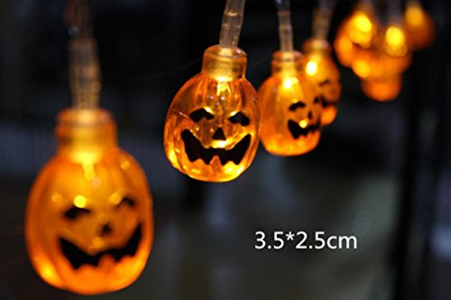 Upxiang 1.2M 10LED Schnur-Lichter für Halloween-Partei-Dekor Halloween-Schnur-Lichter (Led Blitzlicht Kürbis)