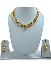 Vivaarya Jewellery Gold Plated Kundan Pearl Necklace Set For Women Traditional Wedding