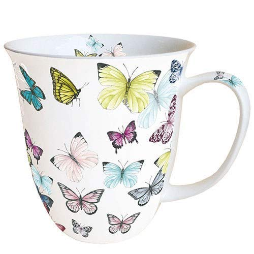 Ambiente Große Porzellan Tasse Becher Teetasse Mug 0,4 L Butterly Butterflies White Weiss Bunt Fine Bone China -
