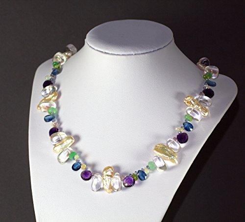 Fine Art Collier Perlenkette Edelsteinkette Geburtstag Geschenk