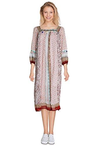 Kleid Lange Damen Kragen Carre Voile fleuris zweifarbig Retro Boheme Kayla (Gürtel inklusive)–Ärmel 3/4–ct6047–in 2Farben erhältlich: Schwarz Rot Gr. S/M, rot (Voile 3/4 Ärmel)
