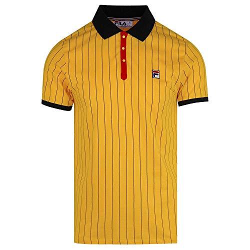 Gold Fusion (Fila Vintage BB1 Borg Pinstripe Polo Shirt Gold Fusion/Black-L)