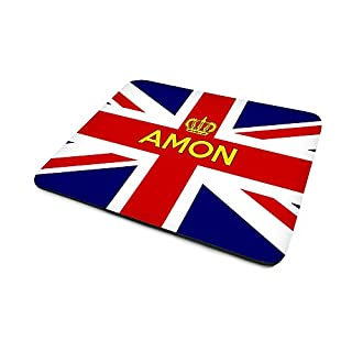 Amon, Personalised Name, Union Jack Flag (United Kingdom) And Crown Design, Mouse Mat, Size 230mm x 180mm x 5mm.