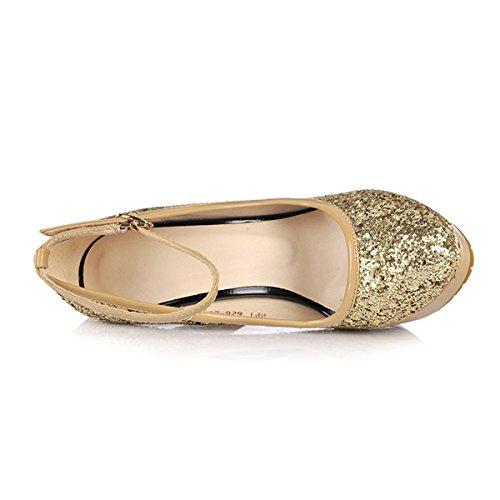 YE Frauen-Absatz geschlossene Zehe-Stilett-Plattform-Knöchel-Bügel Sequin-Partei-Schuhe Pumps mit Schnallen Gold Silber Schwarz Gold