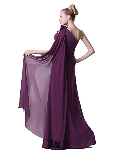 Dresstells, A-line Robe de Demoiselle d'Honneur, Longueur ras du sol, Épaule asymétrique Vert