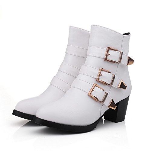 AgooLar Damen Rund Zehe Mittler Absatz Blend-Materialien Niedrig-Spitze Rein Stiefel Weiß