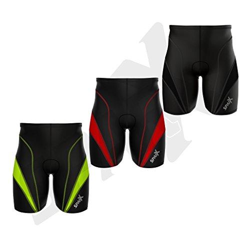 Sparx Herren Triathlon Hose Kurz Tri Shorts Radfahren Kurz, Reißverschluss Pocket Trishort Herren | Triathlet Kurz | mit Weichem Chamois | Swim-Bike-Run, Schwarz/Red, Medium
