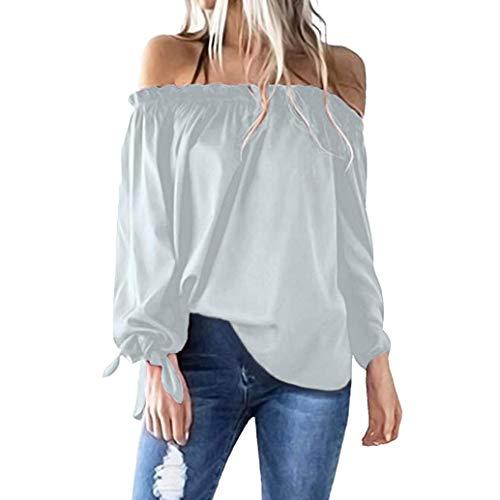 iYmitz DamenLässiges BootNeck Langarm Cold Shoulder T-Shirt Tunika Top Bluse(Grau,L)